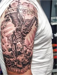 75 st michael tattoo designs for men - archangel and prince. angel micheal tattoos on man's arm Tattoos Arm Mann, Arm Tattoos For Guys, Trendy Tattoos, Forearm Tattoos, Body Art Tattoos, Cool Tattoos, Angel Tattoos For Men, Tattoo Ink, Hand Tattoos