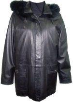 5003 STANDARD Grade Genuine Black Soft Supple Light Lambskin Leather New 3/4 Half Coat Parka Laydown Collar Zip Front Double Placket Closure Zip Off Hood Fox Trim Draw String Lined, ZIP OUT FAKE FUR VELOUR LINER, Multi Stitches Petite Regular Plus Size