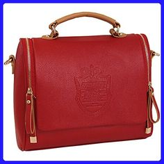 Brooke & Celine Hand Bag Tote Lady Style Large Volume Red Color - Top handle bags (*Amazon Partner-Link)
