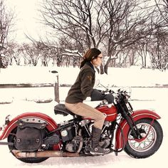 Brittney Olsen on an old Harley Davison, photo by Mathew Olsen