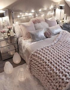 60 Cozy Home Decorating Ideas For Girls Bedrooms Girls Bedroom Ideas Bedrooms cozy decorating Girls home Ideas Romantic Bedroom Design, Pink Bedroom Design, Bedroom Makeover, Cozy House, Girl Bedroom Designs, Cozy Home Decorating, Stylish Bedroom, Bedroom Decor, Bedroom