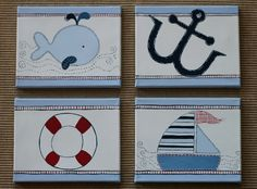 set of 4 nautical paintings from Etsy