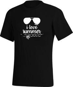 dcc6c64ef2b150 ... Tee-shirt Noir - I love summer, J aime l été, J aime le soleil, Un  petit air de vacance, I love summer, été, soleil, vacances, mer, océan,  lunettes de ...