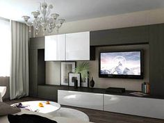 61 Ideas For Living Room Tv Wall Design Television - 61 Ideas For Living Room Tv Wall Design Television - Living Room White, White Rooms, New Living Room, Small Living Rooms, Home And Living, Living Room Decor Colors, Living Room Designs, Modern Tv Room, Tv Unit Furniture
