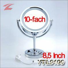 Stand-Kosmetikspiegel, Schminkspiegel, Rasierspiegel, mit LED-beleuchtung, mit 10-facher Vergrößerung, 8,5 Inch, doppelseitig YTL9100
