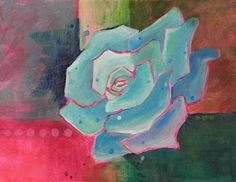 "Abstract Artists International: Colorful Contemporary Flower Art Painting ""A Rose In Blue"" by Contemporary Realism Artist Carol A. McIntyre"