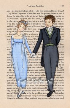 Jane Austen - Elizabeth and Mr Darcy Pride and Prejudice Print
