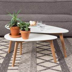 Buy Houseology Collection Drop Side Table White Set Of 2 Oak Legs online with Houseology's Price Promise. Full Houseology Collection collection with UK & International shipping. Decor, Side Table, Dining Table, Living Room Scandinavian, Table, Side Table Wood, Sale Decoration, Mid Century Coffee Table, Coffee Table