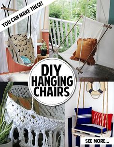 DIY Hanging Chair! More On My Boards, Pin As Much As You Please @Dianne  Darby
