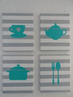 Kitchen Painting set of 4- acrylic on canvas. $38.00