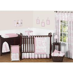 "Sweet Jojo Designs Pink Toile Collection 11pc Baby Crib Bedding Set - Sweet Jojo Designs - Babies ""R"" Us"
