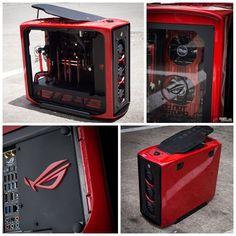 "Named ""Rouge"", KrypteK PC Casemodz displays this cool rig with his custom-painted graphics card to match the theme. Show some love for the up and coming world-class modder by sharing his work and looking at his work log. http://rog.asus.com/forum/showthread.php… Processor: Intel i5 4670K Motherboard: ASUS Maximus Formula VI  RAM module: Corsair Dominator Platinum 2x4GB 1600mhz Graphics Card: ASUS GTX 770 DCUII 2GB SSD:  Samsung 840"