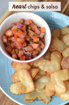 Heart Chips & Salsa are the perfect Valentine's Day snack or appetizer, for your family or party guests. Crispy, crunchy, and delicious, plus easy to make!