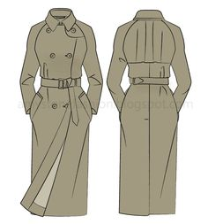 Trench coat with raglan sleeves flat fashion sketch templates 0170