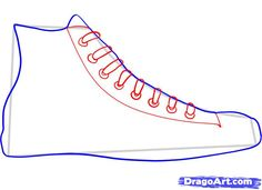 how to draw converse, how to draw chuck taylors step 4