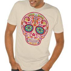 whimsical sugar skull t-shirt for adults