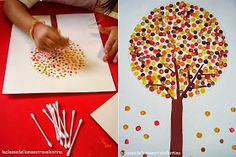 Paint a simple rectangular trunk and then add some branches out from the trunk with the q-tip. Dot on leaves in different colours. (Draw a circle around the trunk in light pencil to maintain a circle shape for the leaves. Fall Crafts For Kids, Holiday Crafts, Kids Crafts, Art For Kids, Arts And Crafts, Fall Projects, Projects For Kids, Craft Projects, Craft Activities