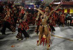 Drum queen Raissa de Oliveira from Beija-Flor samba school performs during the second night of the Carnival parade at the Sambadrome in Rio de Janeiro. REUTERS/Pilar Olivares
