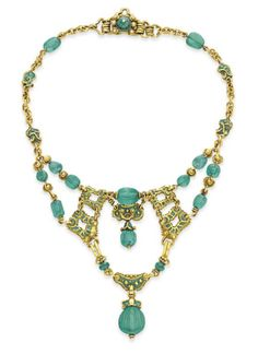 Antique Emerald, Enamel And Gold Necklace, Marcus & Co., ca.1900