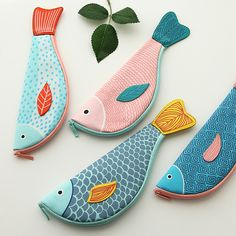 creative happy fish pencil case large Canvas South Korea stationery Purse