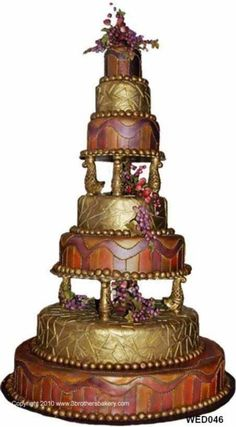 7 tiered gold #weddingcake by #3brothersbakery