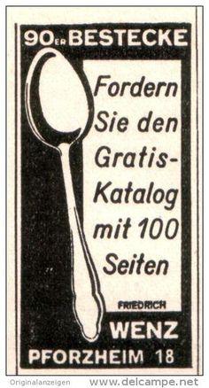 Original-Werbung/Anzeige 1940 - BESTECKE WENZ PFORZHEIM - ca. 20 x 45 mm
