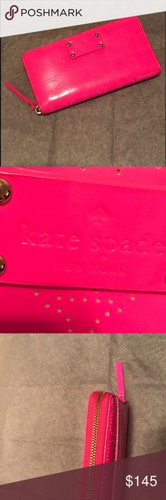 KATE SPADE Neda Metro Spade Wallet Brand new! Kate Spade Zip Around Clutch Wallet. Interior has an area large enough to hold iPhone 7 Plus. Measures about 4 x 8 x 1 inches. Full zip around closure. Continental style. Interior fully lined in leather has 12 card slots, 5 bill document areas, zipper coin purse and exterior slide pocket. This is a neon pink that I can't capture in pics.   📦I ONLY SHIP MONDAY-THURSDAY📫 Bags Wallets