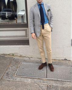 PCJ Sydney  Jacket: Traveller blazer  Trouser: Cotton by Ariston  Shirt: Old denim by Thomas mason  Tie: 7 fold by PJOHNSON   Pocket Square: PJOHNSON wool silk