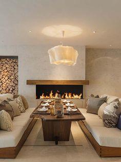 ski chalet in the mountains of Switzerland designed by London-based interior design studio Louise Jones Interiors.