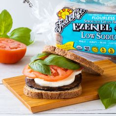 Need a delicious vegetarian option? We added portobellos to a classic Caprese for this fresh summer sandwich. Flourless Bread, Ezekiel Bread, Healthy Sandwiches, Vegetarian Options, Bread Recipes, Sprouts, Hamburger, Diet, Fresh