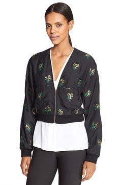 Stella McCartney Embroidered Fil Coupé Bomber available at #Nordstrom