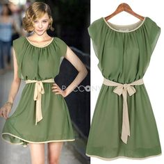 2013 Summer New Arrivals Fashion Womens Clothing Ruffled Bowknot Chiffon Dresses