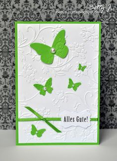 birthday card with butterflys and pearls