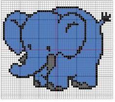Image result for elefante em ponto cruz Elephant Cross Stitch, Crochet Elephant, Crochet Baby, Kids Blankets, Fuse Beads, C2c, Giraffe, Elephants, Coloring For Kids