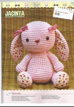 Conejita Jacinta Cute Crochet, Crochet Baby, Knit Crochet, Crochet Doll Pattern, Crochet Patterns, Doll Patterns, Pet Toys, Margarita, Free Pattern