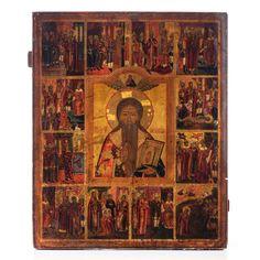 A large Eastern European vita icon representing Saint Cha Russian Art, Vintage World Maps, Saints, Painting, Life, Auction, Painting Art, Paintings, Painted Canvas