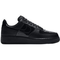 Nike Women Air Force 1 Leather Sneakers ($140) ❤ liked on Polyvore featuring shoes, sneakers, black, black leather shoes, nike sneakers, nike, leather trainers and black trainers