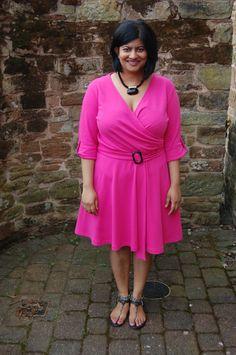 New Look 6097: DIY Pink Ponte Wrap Dress