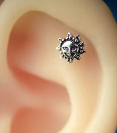 cartilage earring cartilage piercing 16 gauge 20g cartilage earring tiny sun Apollo vintage unique boho bohemian jewelry helix piercing by JennyAndWind on Etsy https://www.etsy.com/listing/239523701/cartilage-earring-cartilage-piercing-16