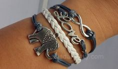 Bracelet#ancient silver #elephant# love#infinite hope# gray # white# woven# to give you a sense of security bracelet #
