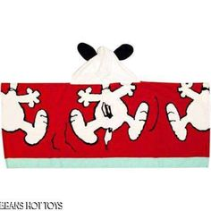 Peanuts Hooded Towel Snoopy Ears Happy Dance 100% cotton NEW Childs bath towel