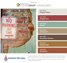 I found these colors with ColorSnap® Visualizer for iPhone by Sherwin-Williams: Origami White (SW 7636), Antique Red (SW 7587), Restful (SW 6458), Artisan Tan (SW 7540), Plantation Shutters (SW 7520), Gallant Gold (SW 6391), Pennywise (SW 6349).