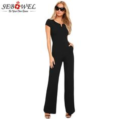 0b06900b250f SEBOWEL Summer Sexy Black Wide Leg Jumpsuit Women Elegant Short Sleeve  Rompers Long Pants Office Lady