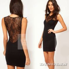 Sexy Women's Lady Crew Neck Sheer Lace Party Night Culbbing Tunic Solid Black Bodycon Mini Dress Size XS S M Free Shipping 0925 $6.46 - 7.06