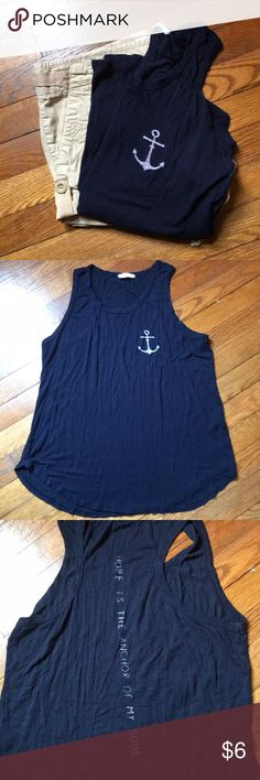 Navy Anchor Tank Good used condition! Soft and flowy perfect for summer! french pastry Tops Tank Tops