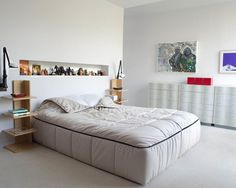 Contemporary Home in White with Artistic Interior Decoration : Chic Contemporary Bedroom Design Ideas  Stylish Sideboards With Exquisite Wal...