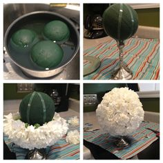 DIY Baby shower (or wedding) centerpiece. Use an oasis ball and oasis tape. Soap ball, Wrap the tape around the ball and then also around the base of candle stick to ensure it doesn't sink. Be gentle! Cut your carnations at an angle so they are somewhat sharp. You will need more carnations than you think. We used a 6 inch ball and still had to go buy more flowers! #pomander