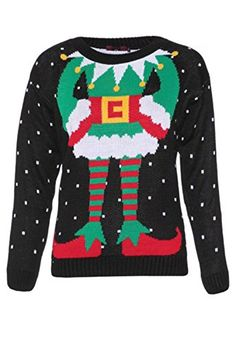STORTO Christmas Ugly Sweater Casual Novelty Sequined Knitting Black Pullover Tops