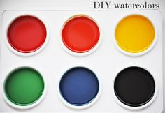 homemade watercolor paints, they're solid Combine 3 tablespoons each of the baking soda, cornstarch and vinegar and add 1 1/2 teaspoons of the corn syrup/sugar substitute. Allow the fizzing to subside and mix completely. Pour the mixture into whatever you'd like to use to hold your paints. I bought a $2 paint tray at Michaels, but you can also use a plastic egg carton. Add the food coloring to create your desired palette and leave out to harden for three hours. Make sure you add the food…