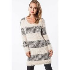 http://www.salediem.com/shop-by-size/small/stripe-print-faux-fur-trim-knit-sweater-tunic.html #salediem #fallsweater